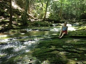Abigail at the lower swimming hole - the water level was way down on this trip